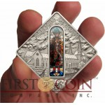 Palau AUGSBURG CATHEDRAL $10 Series SACRED ART Silver coin 2012 Antique finish Stained Glass 1.6 oz