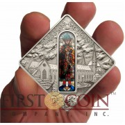 Palau AUGSBURG CATHEDRAL PROPHET JONAH $10 Series SACRED ART Silver coin 2012 Antique finish Stained Glass 1.6 oz