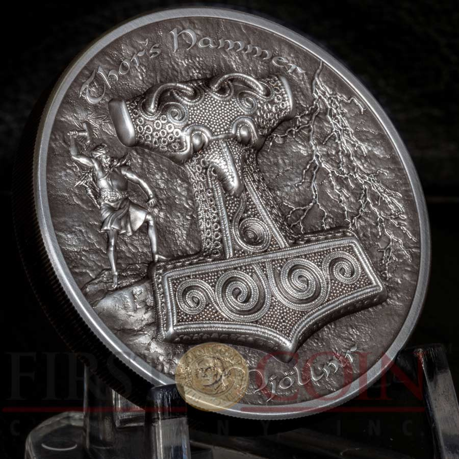 Cook Islands THOR's HAMMER MJOLLNIR Silver Coin $10 Antique finish 2017 Ultra High Relief Smartminting technology 2 oz