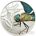 Palau DRAGONFLY $2 series WORLD OF INSECTS Silver coin Partly colored Proof 2010