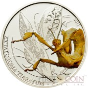 Palau WALKING LEAF GIANT PRICKLY $2 series WORLD OF INSECTS Silver coin Partly colored Proof 2011