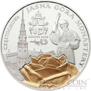 Palau JASNA GORA MONASTERY series GOLDEN ROSES Silver coin $2 Gold plated Proof 2012