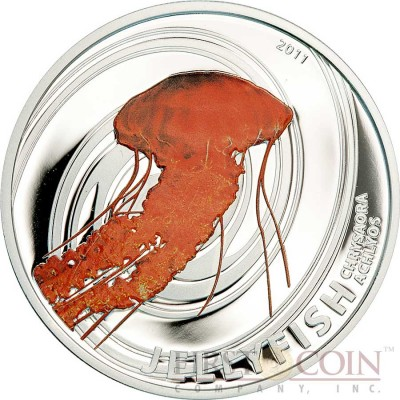 Pitcairn Islands CHRYSAORA ACHLYOS series JELLY FISH $2 Partly colored Silver coin 2011 Proof