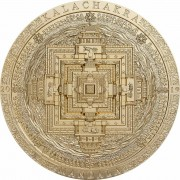 Mongolia KALACHAKRA MANDALA series ARCHEOLOGY and SYMBOLISM 2000 Togrog Silver Coin Antique finish 2019 Ultra High Relief Smartminting Gold plated 3 oz