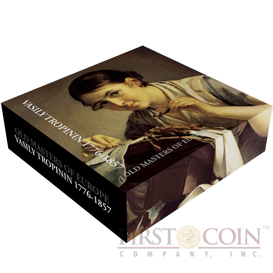 Cook Islands VASILY TROPININ  – THE LACE MAKER series MASTERPIECES OF ART $5 Colored Silver Coin Proof Two Golden Wires Inserted 2010