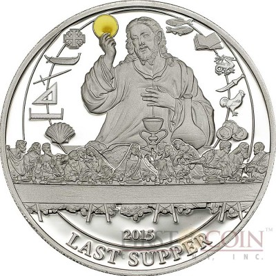 Palau LAST SUPPER series BIBLICAL STORIES Silver coin $2 Partly enameled 2015 Proof