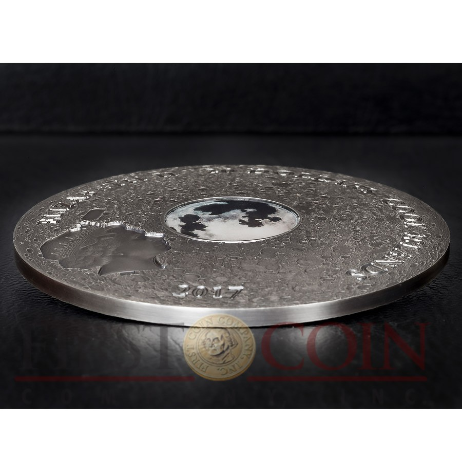 Cook Islands MOON EARTH SATELLITE $20 Silver Coin Real Moon meteorite piece 2017 Antique finish Lens convex shape 3 oz
