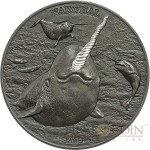 Cook Islands NARWHAL series HIGH RELIEF ANIMALS $5 Silver Coin 2015 Smartminting Antique and Proof finish High Relief 1 oz