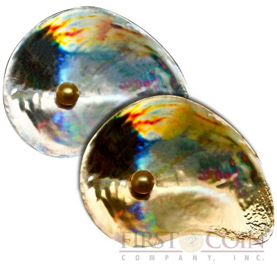 Palau OYSTER 4 HYRIOPSIS CUMINGII series SEA TREASURES $10 Silver Two Coin Set 2014 Convex hologram Shell shape Pearl inserted Gold plated 1.6 oz