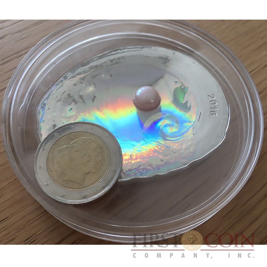 Palau BIG OYSTER SHEEP'S EAR ABALONE 5th Anniversary series SEA TREASURES $20 Silver Coin Shell shape 2016 Ultra High Relief Real pearl Proof 3 oz