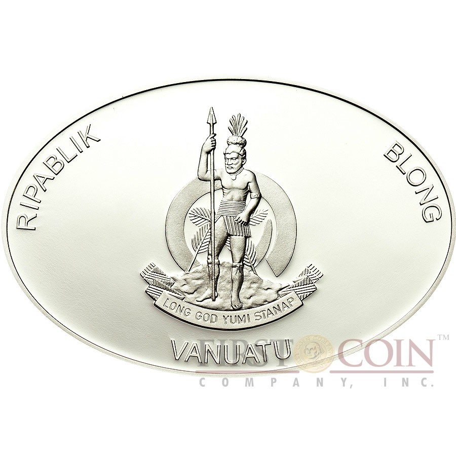 Vanuatu EDWARD TEACH BLACKBEARD series FAMOUS PIRATES 2012 Silver Coin 50 Vatu Partly colored Frosted Proof