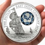 Cook Islands Royal Delft™ Dutch East India Company $10 Royal Delft series Silver coin Porcelain insert 2014 Proof ~ 1.61 oz