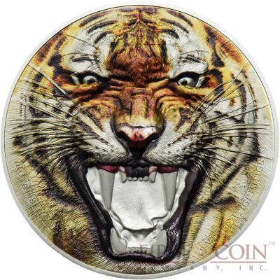 Tanzania ROYAL BENGAL TIGER series RARE WILDLIFE 1500 Shillings Silver coin 2017 Smartminting technology Proof 2 oz
