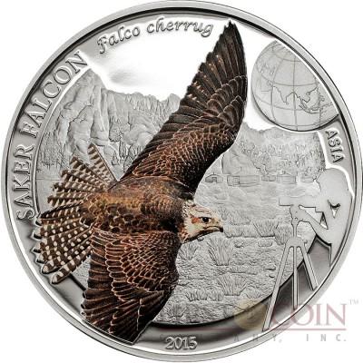 Mongolia SAKER FALCON series BIRDING Silver coin 250 Tugrik 2015 Partly colored