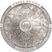 Cook Islands SAMSARA WHEEL OF LIFE series ARCHEOLOGY and SYMBOLISM $20 Silver Coin Antique finish 2019 Ultra High Relief Smartminting 3 oz