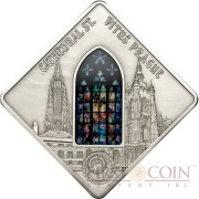 Palau ST. VITUS PRAGUE $10 Series SACRED ART Silver coin 2013 Antique finish Stained Glass 1.6 oz