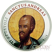 Palau SANCTUS ANDREAS $1 Copper Silver Plated coin Colored Prooflike 2009