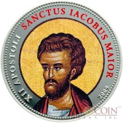 Palau SANCTUS IACOBUS MAIOR $1 Copper Silver Plated coin Colored Prooflike 2009
