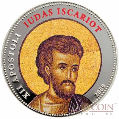 Palau SANCTUS IUDAS ISCARIOT $1 Copper Silver Plated coin Colored Prooflike 2009