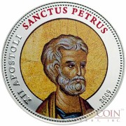 Palau SANCTUS PETRUS $1 Copper Silver Plated coin Colored Prooflike 2009