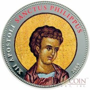 Palau SANCTUS PHILIPPUS $1 Copper Silver Plated coin Colored Prooflike 2009