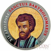 Palau SANCTUS BARTHOLOMAEUS $1 Copper Silver Plated coin Colored Prooflike 2009