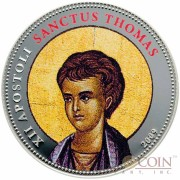 Palau SANCTUS THOMAS $1 Copper Silver Plated coin Colored Prooflike 2009