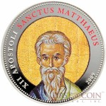 Palau SANCTUS MATTHAEUS $1 Copper Silver Plated coin Colored Prooflike 2009