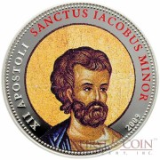 Palau SANCTUS IACOBUS MINOR $1 Copper Silver Plated coin Colored Prooflike 2009