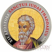 Palau SANCTUS IUDAS THADDAEUS $1 Copper Silver Plated coin Colored Prooflike 2009