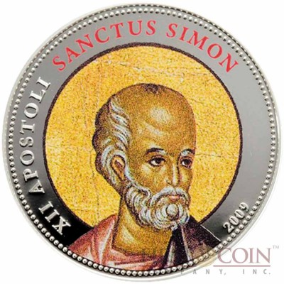 Palau SANCTUS SIMON $1 Copper Silver Plated coin Colored Prooflike 2009