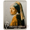 Cook Islands JOHANNES VERMEER GIRL WITH PEARL series MASTERPIECES OF ART $5 Partly colored Pearl inserted Silver Coin Proof 2009