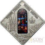 Palau VOTIVE CHURCH VIENNA $10 Series SACRED ART Silver coin 2012 Antique finish Stained Glass 1.6 oz