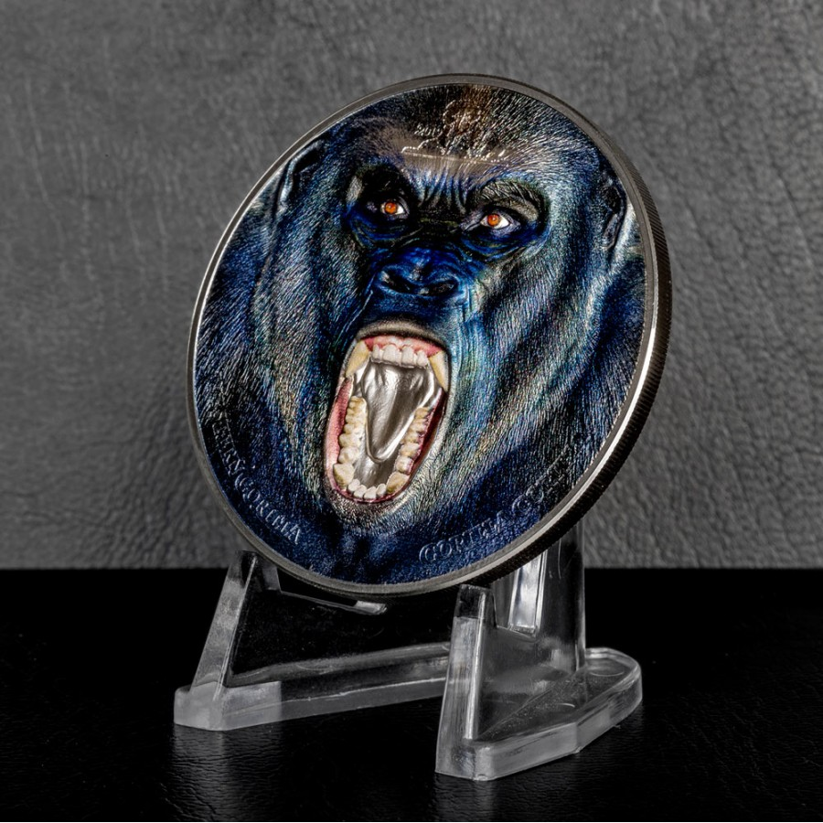 Tanzania WESTERN GORILLA series RARE WILDLIFE 1500 Shillings Silver coin 2019 Smartminting technology Proof 2 oz