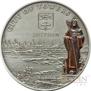 Cook Islands ZUTPHEN THE NETHERLAND series HANSEATIC LEAGUE SEA TRADING ROUTE $5 Silver coin Antique finish 2010