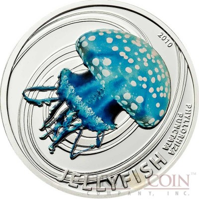 Pitcairn Islands WHITE SPOTTED AUSTRALIAN JELLY FISH series JELLY FISH $2 Partly colored Silver coin 2010 Proof