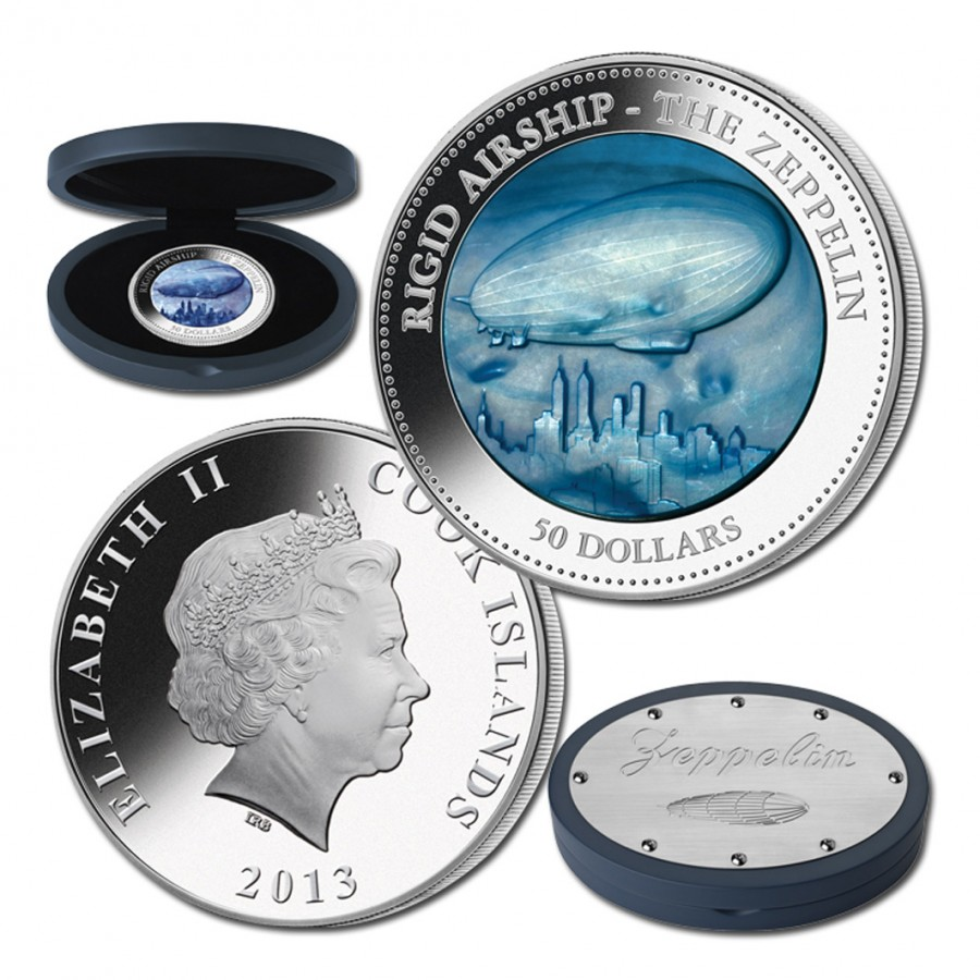 Cook Islands Zeppelin series DISCOVERY $25 Silver Coin 2013 Mother of Pearl Proof 5 oz