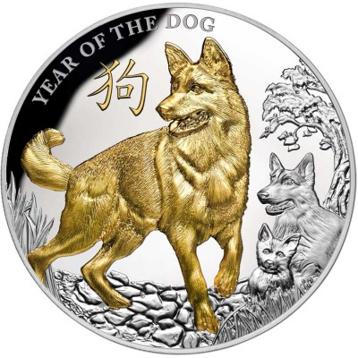 Niue Island YEAR OF THE DOG series LUNAR CALENDAR $8 Silver coin 2018 Gold plated Proof 5 oz