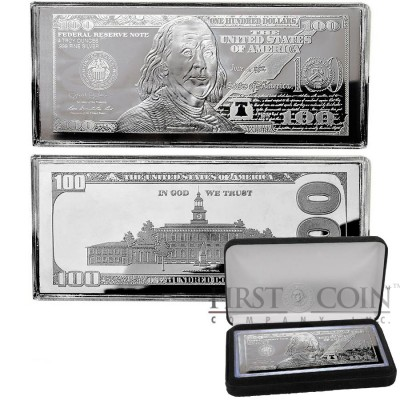 USA 2013 Silver $100 Bill Note Franklin Bar 4 oz