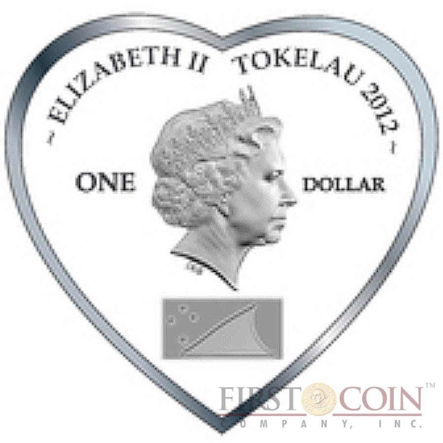 Tokelau True Love – Flowers $1 Messages of Love series Heart-Shape Colored Silver Coin Proof 2012