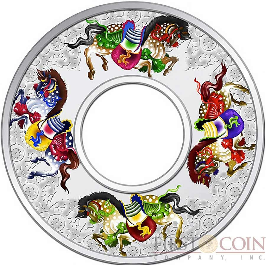 Tokelau Horses $10 Carousel Infinity series Lunar 2 oz Colored Silver Coin with a Hole Proof 2014