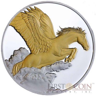 Tokelau Pegasus $5 Creatures of Myth & Legend Gilded Silver Coin Year of the Horse Proof 1 oz 2014