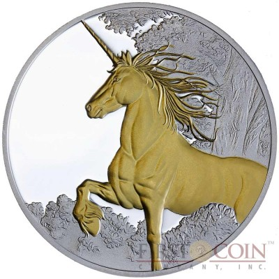 Tokelau Unicorn $5 Creatures of Myth & Legend Gilded Silver Coin Year of the Horse Proof 1 oz 2014