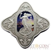 Tokelau The Lady of Fortune $1 Silver Coin Colored Unique Shape 2014 Antique Finish 1 oz