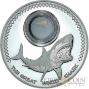 Tokelau GREAT WHITE SHARK $5 Silver Coin 2014 Fossilized Tooth Insert 1 oz