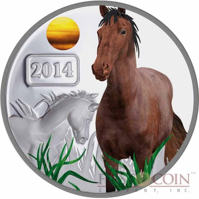 Tokelau Year of the Horse $5 Lunar Family Series Colored Silver Coin Proof 1 oz 2014