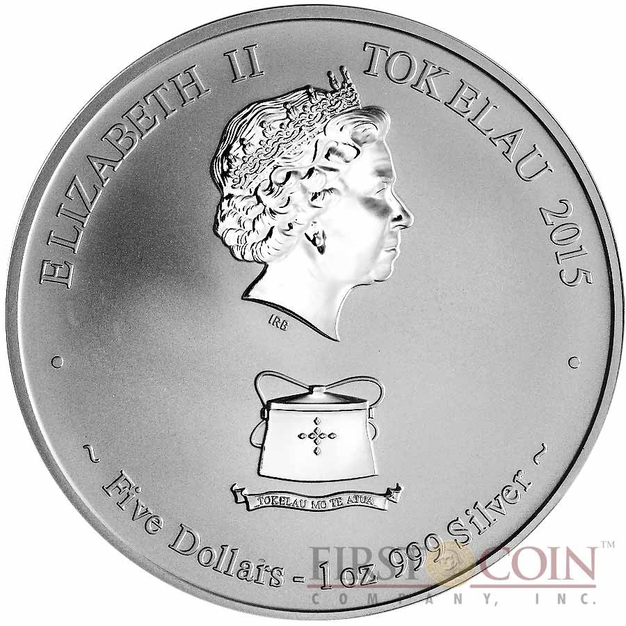 Tokelau Year of the Goat $5 Lunar Family Series Silver Coin Reverse Proof 1 oz 2015