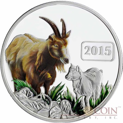 Tokelau Year of the Goat $5 Lunar Family Series Colored Silver Coin Proof 1 oz 2015
