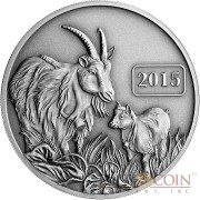 Tokelau Year of the Goat $5 Lunar Family Series Silver Coin Antique Finish 1 oz 2015
