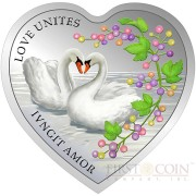 Tokelau Love Unites – Graceful Swans $1 Messages of Love series Heart-Shape Colored Silver Coin Proof 2014